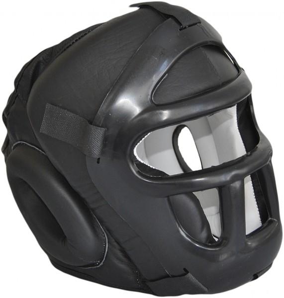 Phoenix Kopfschutz mit Gitter Leder schwarz 01