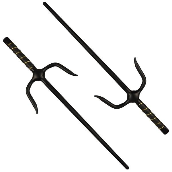 Paar Sai-Gabeln Octagon schwarz ca 48.5 cm