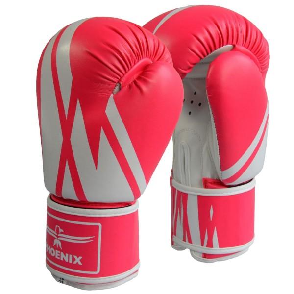 Boxhandschuhe Kunstleder pink-weiß