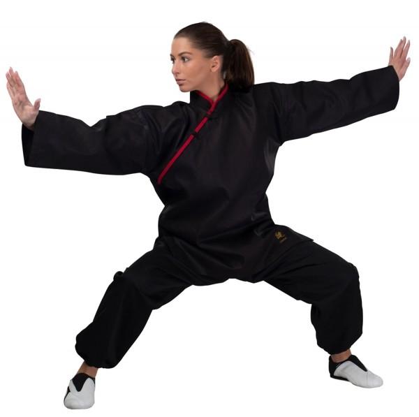 Kung Fu Jacke mit roten Applikationen 01