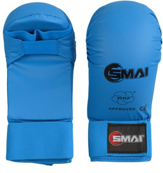 SMAI WKF Karate Handschutz blau ohne Daumen 01