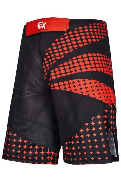 PX MMA Shorts Stretch schwarz-rot vorne
