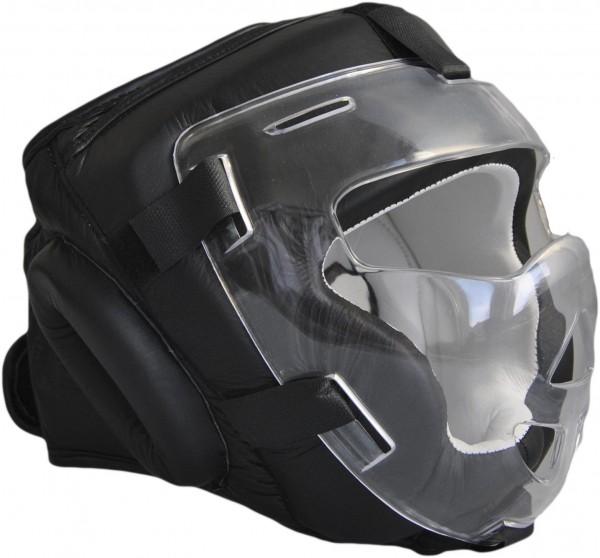 Kopfschützer mit Visier Echtleder schwarz 01
