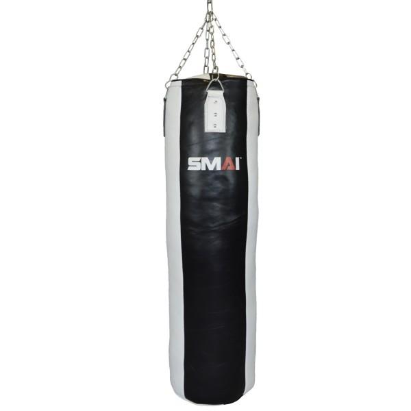 SMAI Boxsack Echtleder gefüllt schwarz-weiß