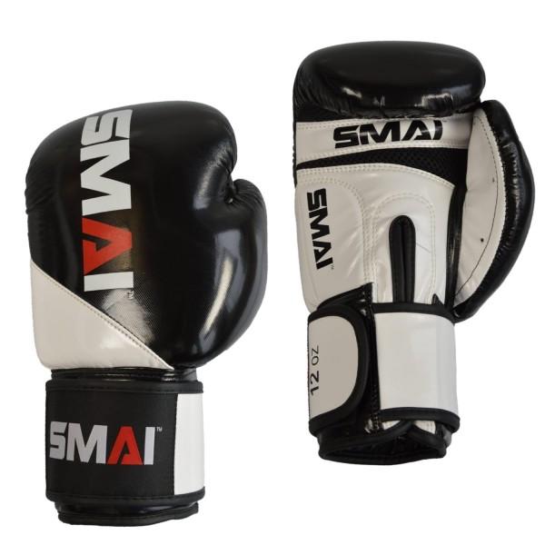 SMAI PU Boxhandschuhe schwarz-weiß