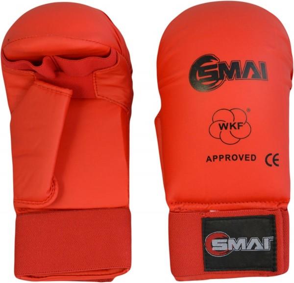 SMAI WKF Karate Handschutz rot mit Daumen 01
