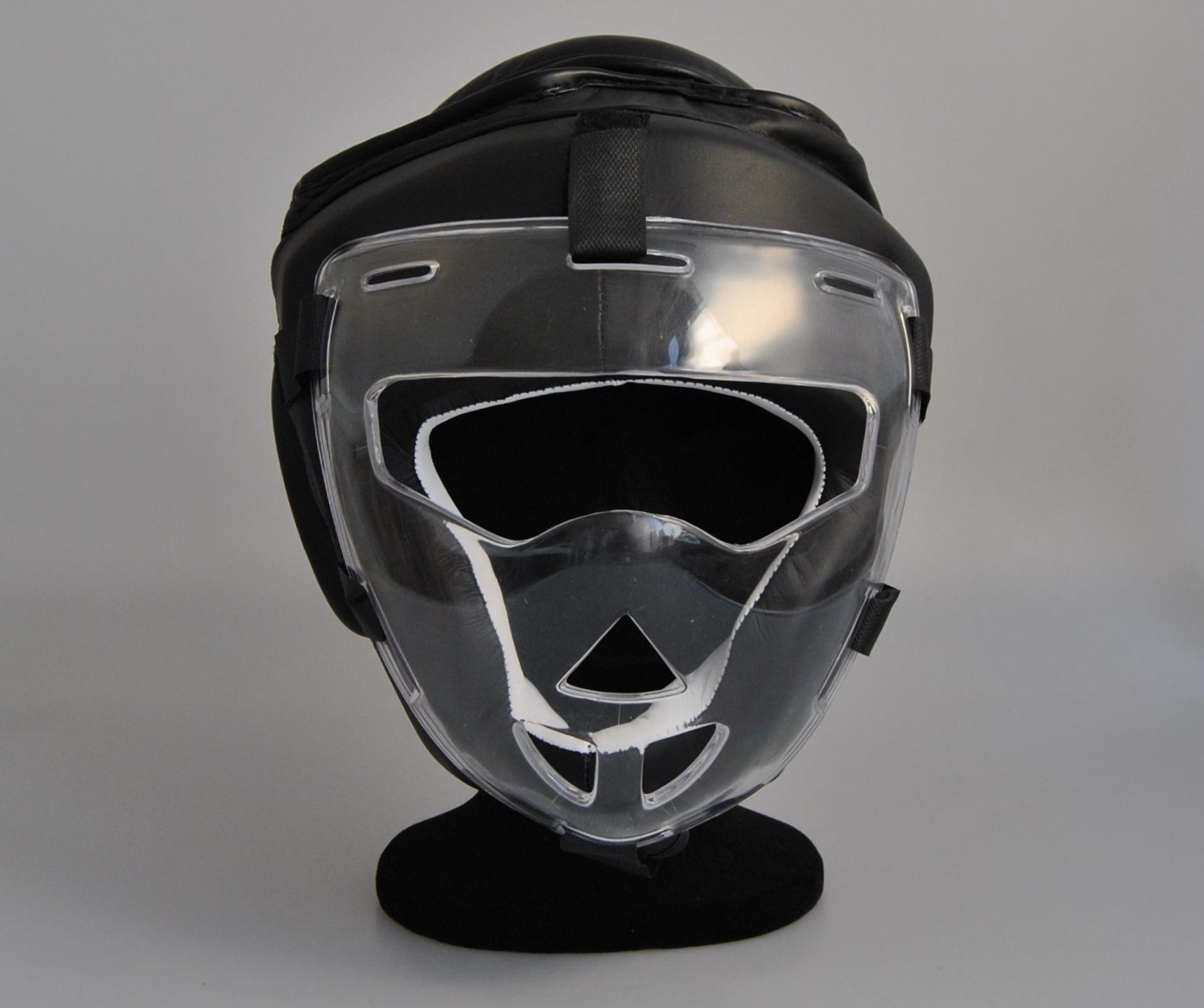 Phoenix Kopfschutz mit Visier Leder Schwarz