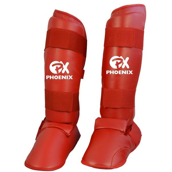 Phoneix PX Karate Kumite Schienbein-Spannschutz rot