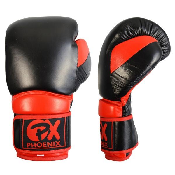 PX Leder Boxhandschuh COMBAT schwarz-rot 01