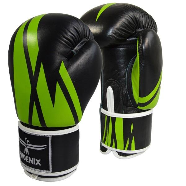 PHOENIX Thai Boxhandschuh Leder schwarz-grün